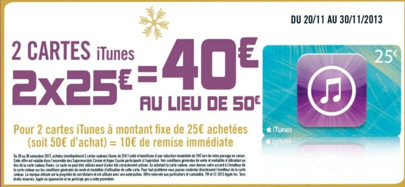 iTunes 2x20€ à 40€ Hyper Casino Nov 2013