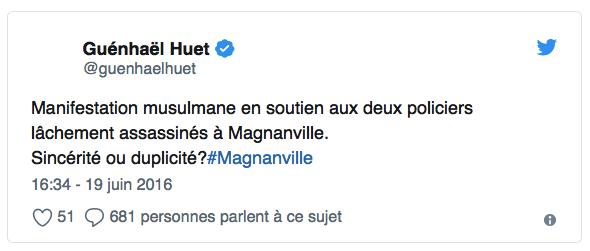 Guenhael Huet-tweet-polémique-juin-2016-Magnanville-policier-depute-Avranches-twitter