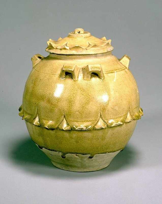 Celadon glazed jar with six handles and design of lotus petals, Southern Dynasties, 5th-6th century
