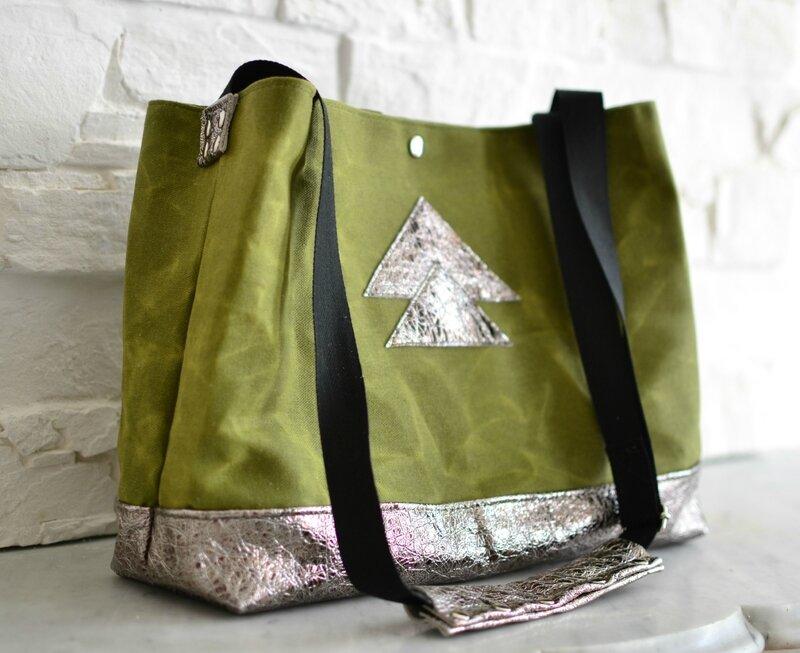 sac en cuir et toile cirée naturelle kaki, cabas kaki et bronze shirley ze pap