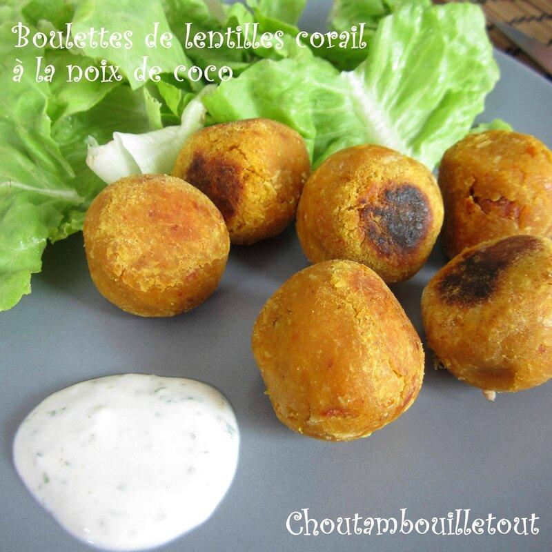 boulettes lentilles corail noix de coco