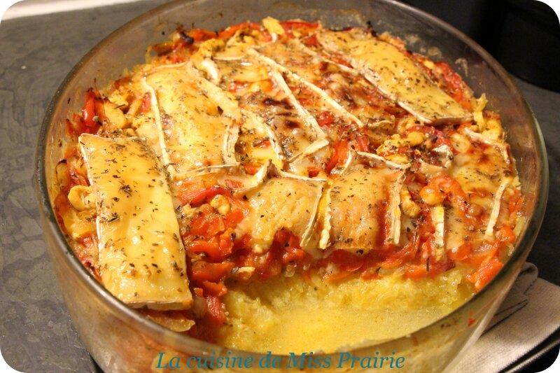 Gratin de courge-spaghetti, poivron, poulet & chèvre