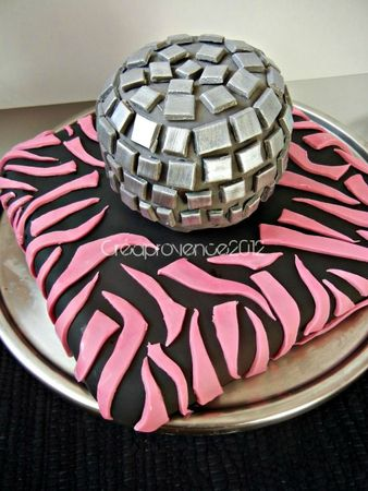 disco ball cake and pink zebra