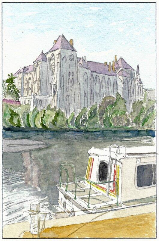 37 Solesmes - Pénichette devant l'abbaye (non datée)
