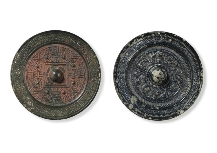 Two bronze circular mirrors, China, Han Dynasty (206 BC-AD 220)