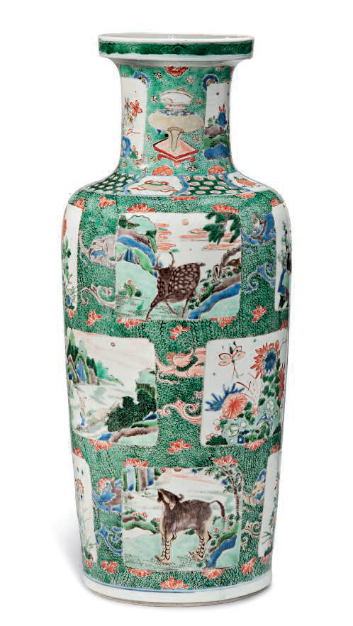 A large famille verte rouleau vase, Kangxi period (1662-1722)