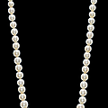 A single-strand natural pearl and diamond necklace