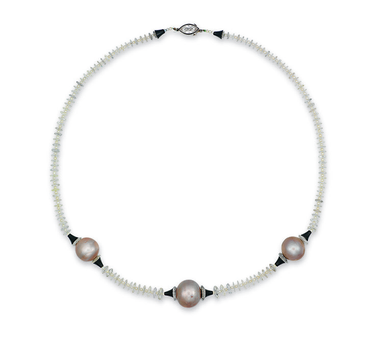 A natural pearl, diamond, onyx and seed pearl necklace