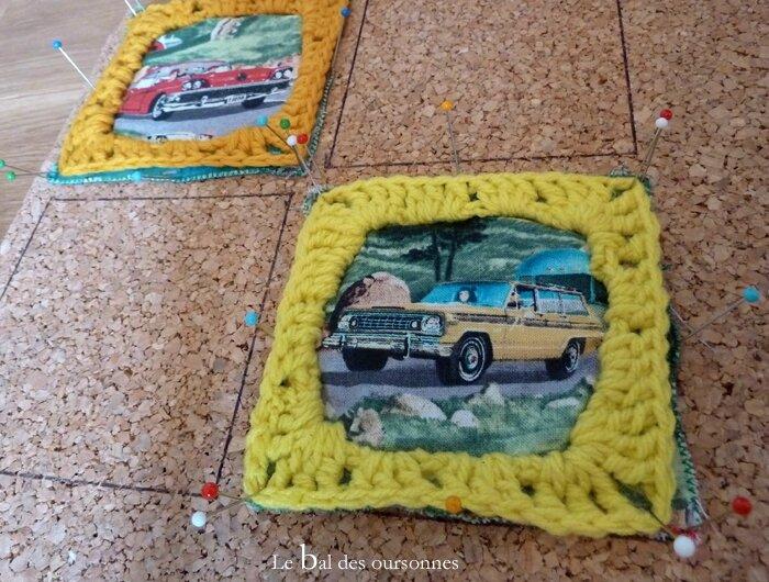91 Blog CAL Crochet Granny Square Voiture Fifties Rétro Tissu Blocage 5