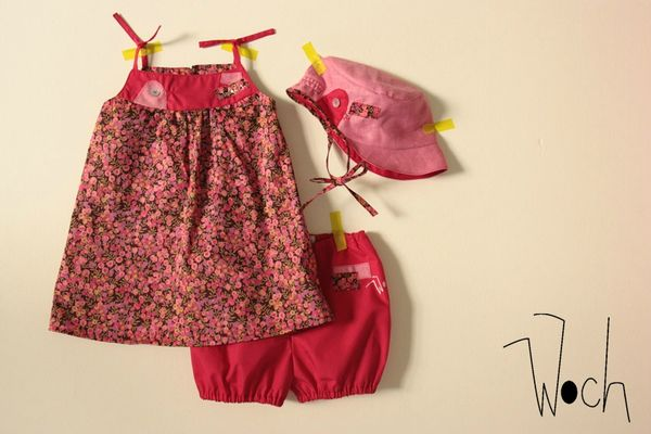 Ensemble robe bloomer casquette Rose et Liberty Woch