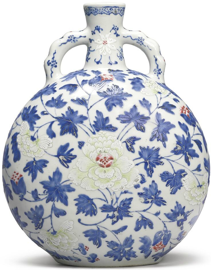 A rare famille-rose 'Peony' moonflask, Qing dynasty, 18th-19th century