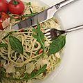 Spaghettis à la sauce pesto