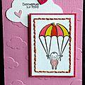 Un combo ... un bébé en parachute ... une touche de broderie ... des nuages ... une carte de naissance fille !