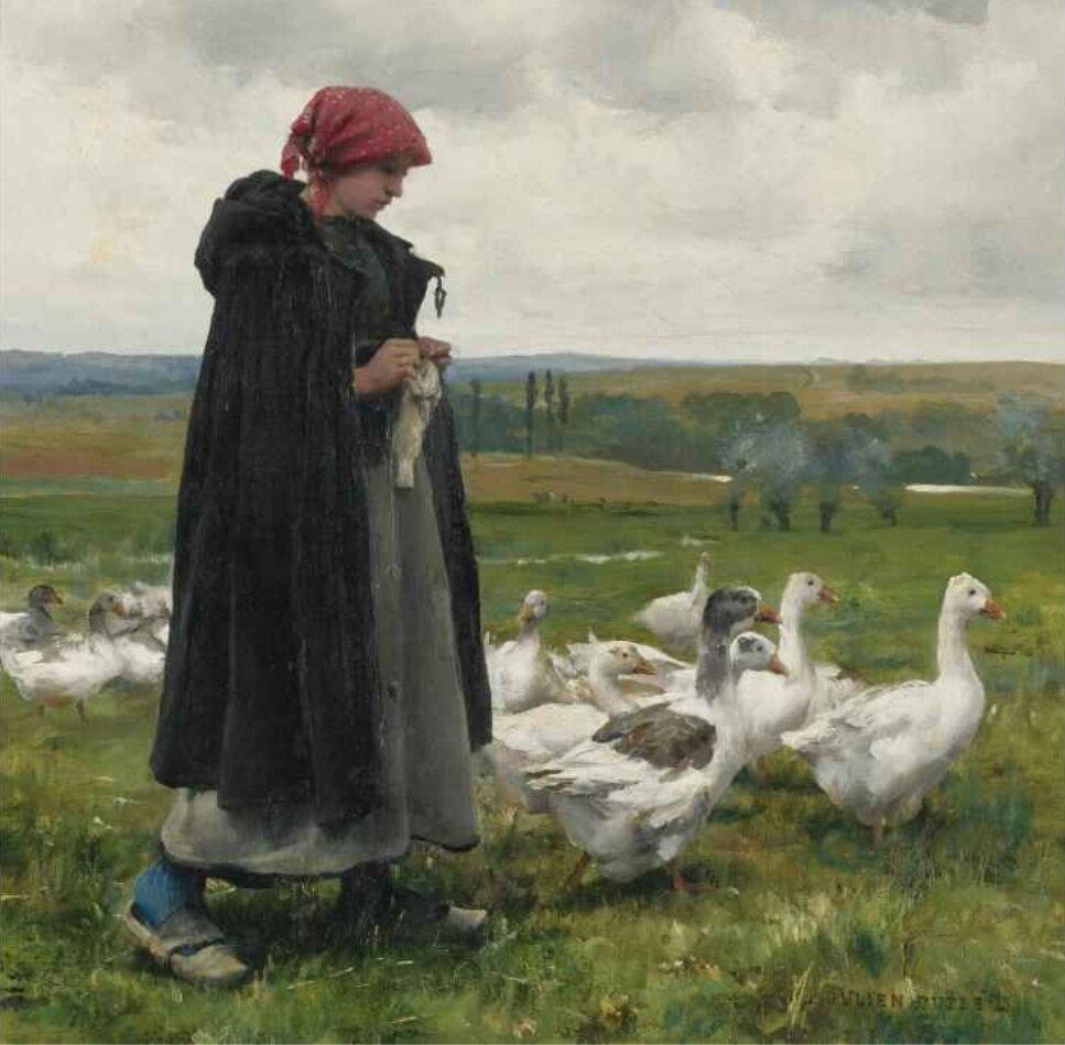 Jules Dupré : jeune fille aux champs