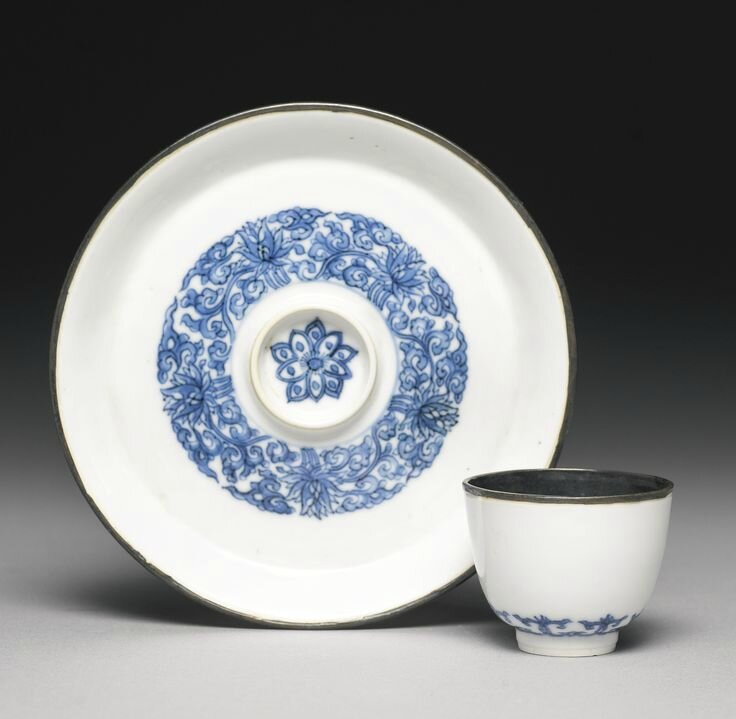 A small blue and white wine cup and stand, Kangxi marks and period