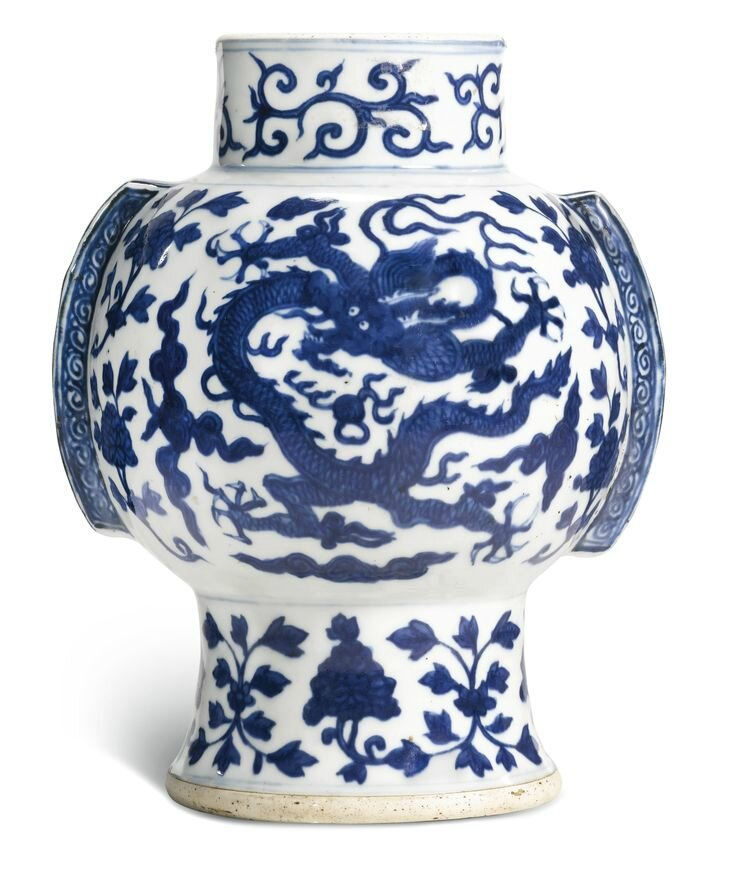 A rare blue and white 'Dragon' Vase, zun, Wanli Mark And Period