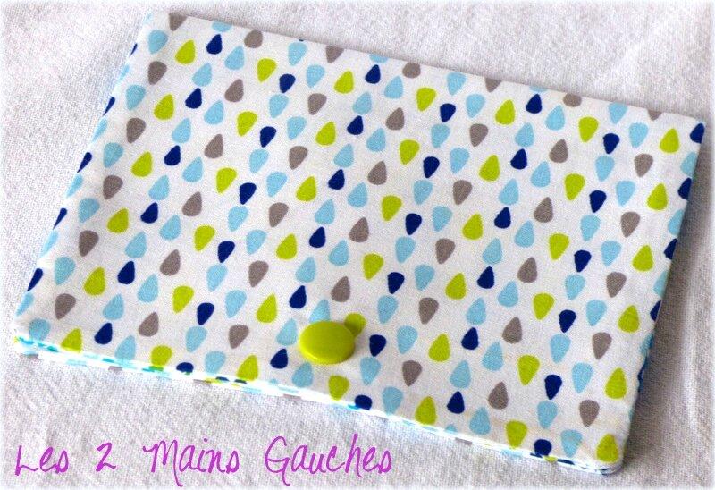 mini pochette à barrettes avec gouttes bleues et vertes