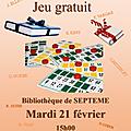 Loto litteraire - bibliotheque de septeme - mardi 21 fevrier 2017 - jeu gratuit et... des livres a gagner !!!