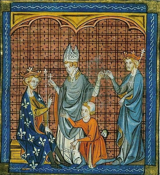 King Philippe Augustus of France and Henry II taking the Cross of the 3rd Crusade in 1191