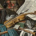 Edwaert collier (breda c. 1640-1708 london), a globe, a casket of jewels and medallions, books, a hurdy-gurdy, a bagpipe,...