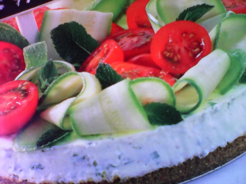 tarte salée au fromage frai herbes courgettes tomates