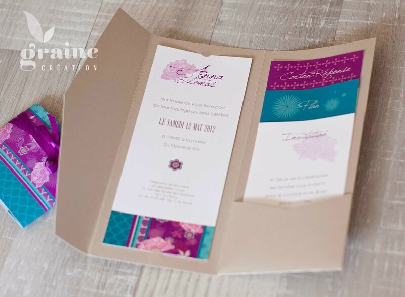les cartons d'invitation du faire-part japonais fuschia
