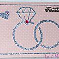carte de félicitations de mariage avec bague et alliance