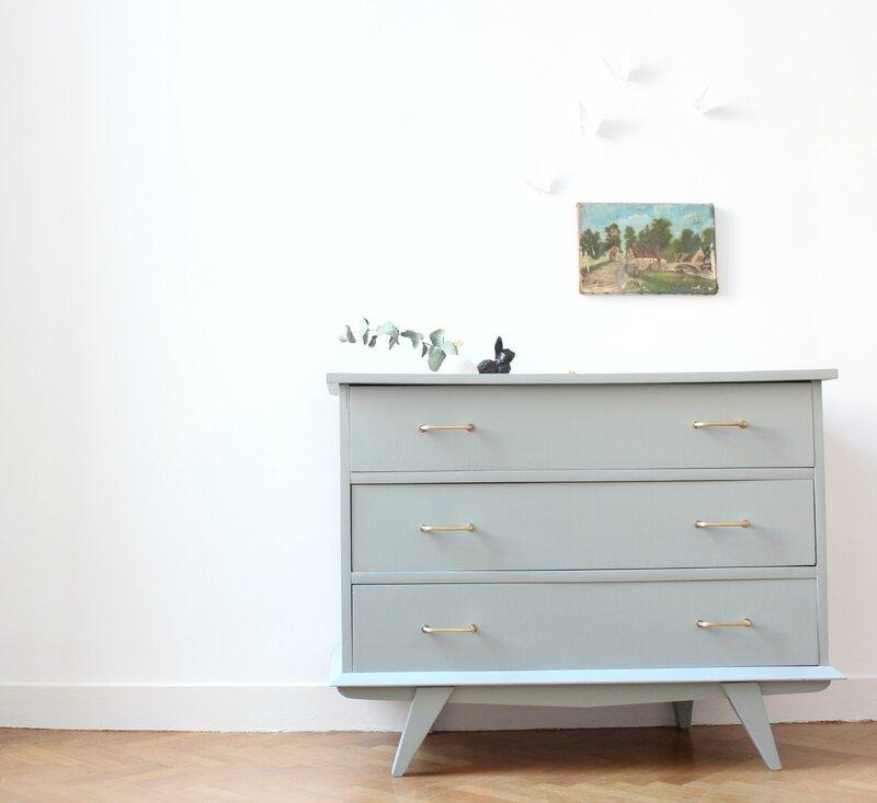 commode vintage pieds compas gris pigeon mobilier enfant TRENDY LITTLE 1