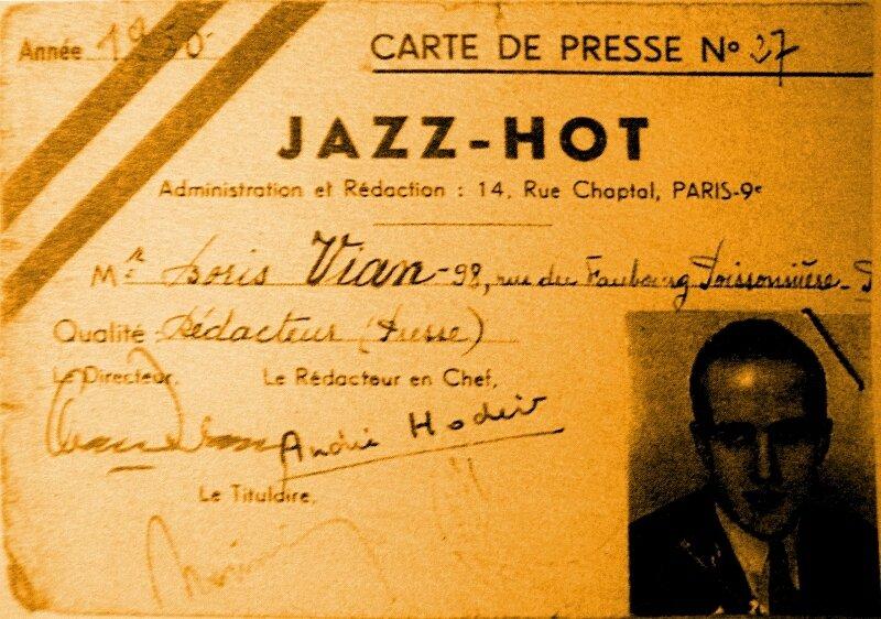 1950-carte de presse de Boris Vian