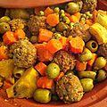 Tajine de boulette de boeuf aux légumes