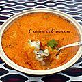 Parmentier de carottes au lait ce coco et cabillaud