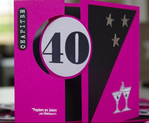 cartes d 39 invitation 40 ans papiers en seine. Black Bedroom Furniture Sets. Home Design Ideas