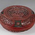 Boîte ronde en laque rouge. chine. dynastie qing, époque qianlong