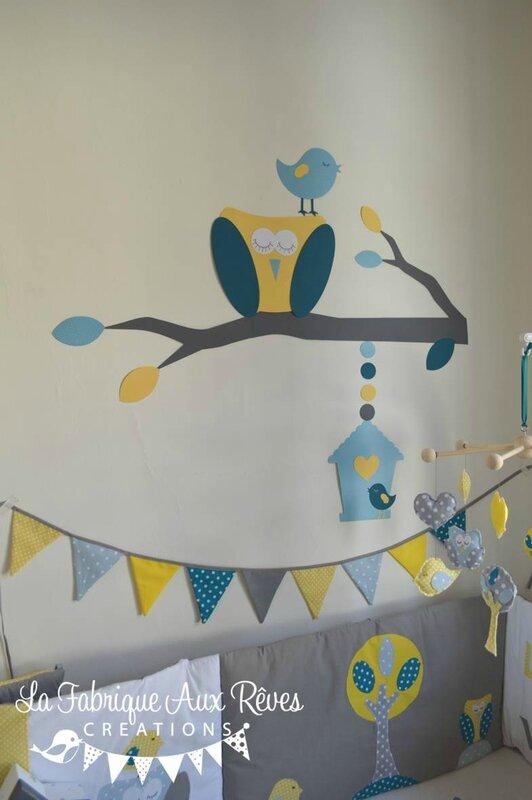stickers hibou arbre feuilles oiseau nichoir bleu ciel jaune bleu pétrôle canard gris