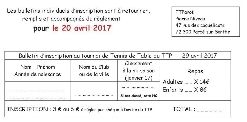 Tournoi TTP du 29 avril 20173