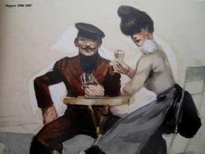 Couple Drinking Aquarelle, mine de plomb