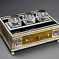 An early 19th century ivory and ebony desk set. india, ca 1810