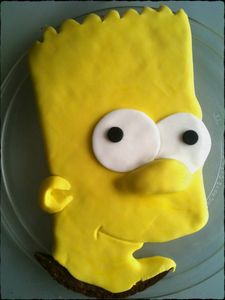 bart simpson cake in progress