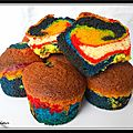 Muffins multicolores, vanille fraise...