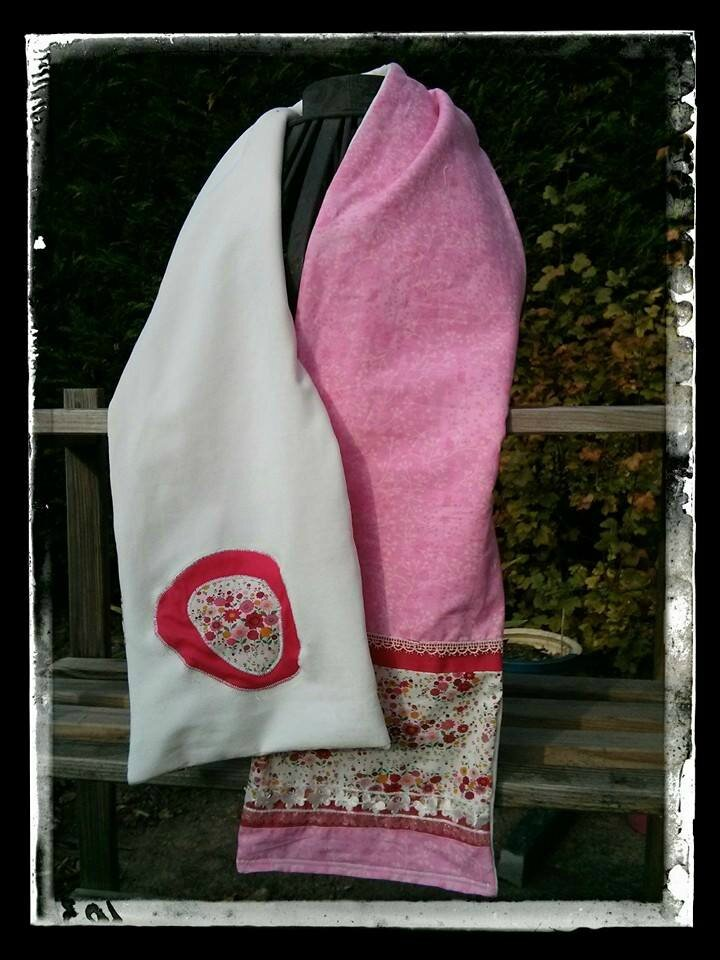 Echarpe blanc rose liberty - longueur