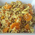 Quinoa aux carottes et aux amandes, parfumé au curry