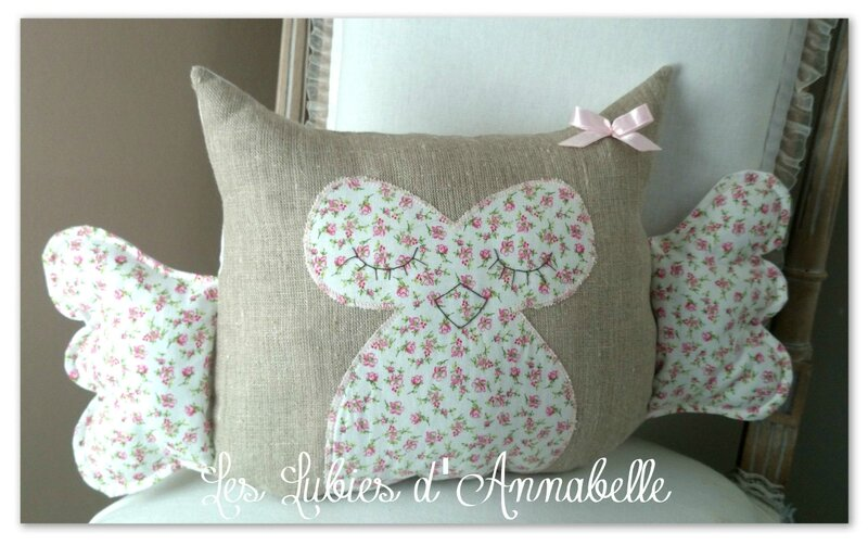 coussin doudou chouette hibou fille noeud rose
