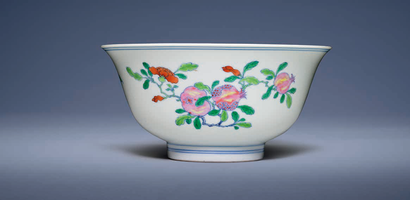 A very rare doucai and famille rose 'Sanduo' bowl, Yongzheng six-character mark in underglaze blue within a double circle and of the period (1723-1735)