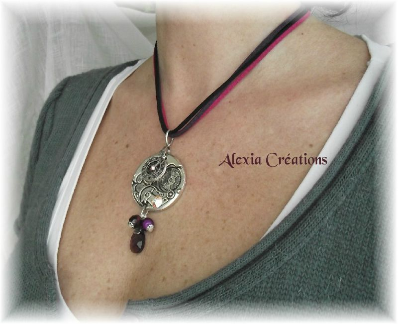 Collier Steampunk Purple Alexia Cr Ations G N Ration Perles