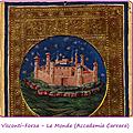 27 - VISCONTI SFORZA carte du Monde - Accademia Carrara - detail de la ville