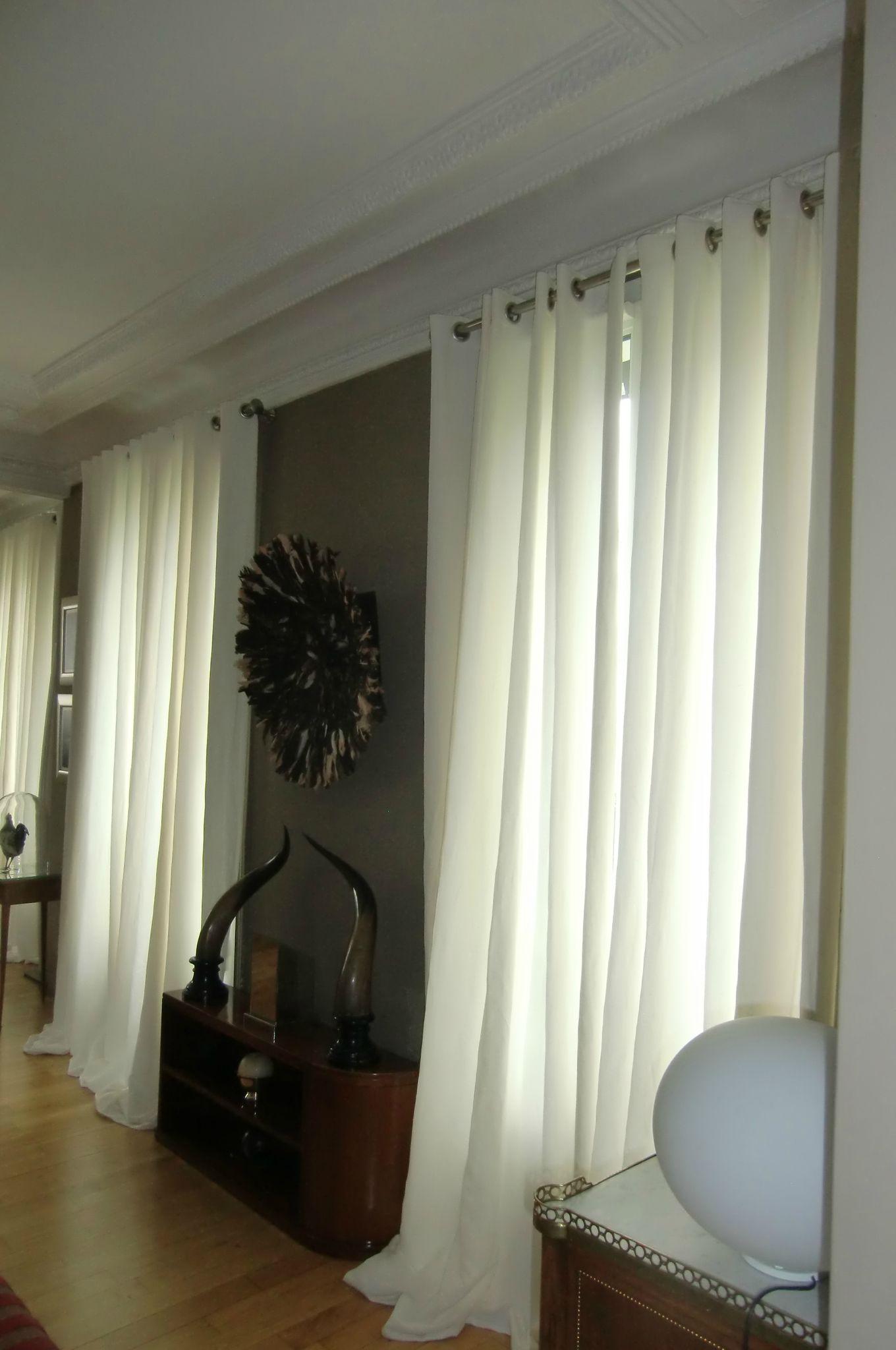 installation de rideaux blancs en lin blanche l 39 a fait. Black Bedroom Furniture Sets. Home Design Ideas
