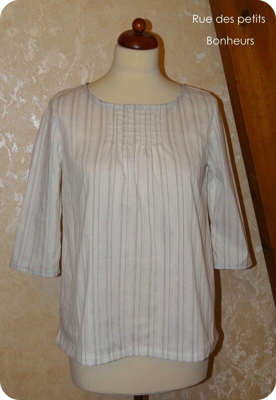 Blouse blanche rayée -Tuniques, blouses & robes au fil des jours -