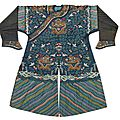 Chinese blue ground kesi dragon robe, qing dynasty