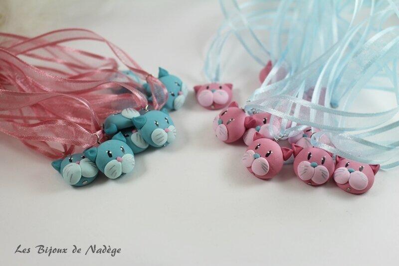 marques verre chat rose et bleu