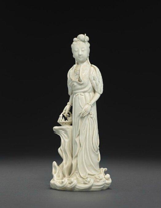 A Dehua standing figure of Guanyin, He yin Chaozong square seal mark, 19th-20th century